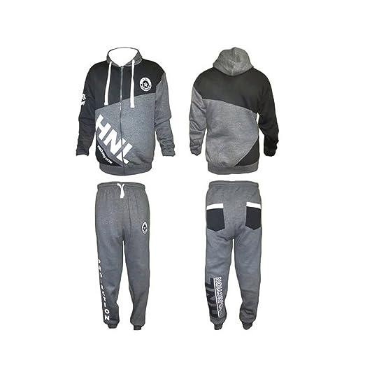 Para hombre gris y blanco traje de jogging pantalón de chándal ...