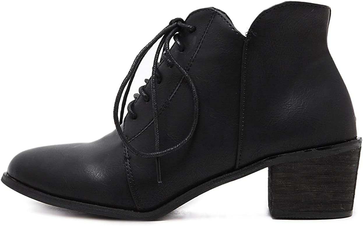 eshion Ankle Point Toe Bootie Zip Up Solid Combat Boots for Women Heels