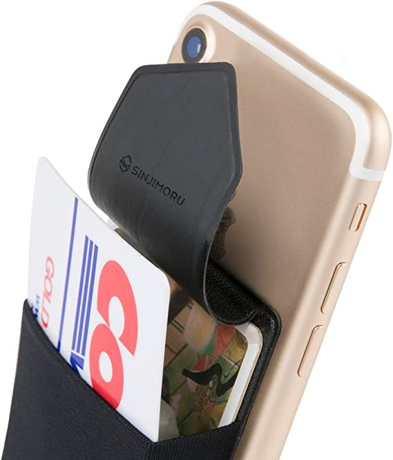 Sinjimoru Secure Card Holder for Back of Phone, Stretchy Fabric Cell Phone Wallet Stick On Credit Card Case for iPhone & Android. Sinji Pouch Flap Black