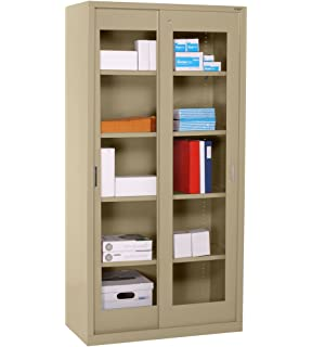 Clearview Tall Storage Cabinet with Sliding Clear Doors Color: Tropic Sand