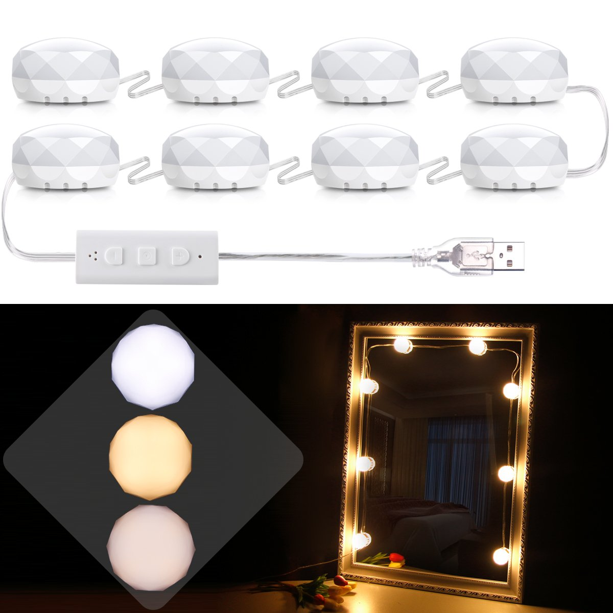 B-Land Hollywood Style LED Vanity Mirror Lights Kit with Dimmable White, Warm White & Warm Yellow Colors, Lighting Fixture Strip for Makeup Vanity Table Set, LED String Light for Party Decoration