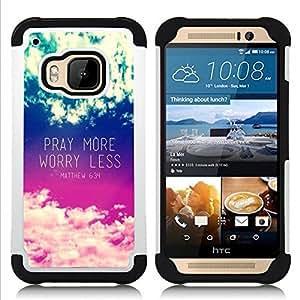 - pray more worry less inspirational - - Doble capa caja de la armadura Defender FOR HTC ONE M9 RetroCandy