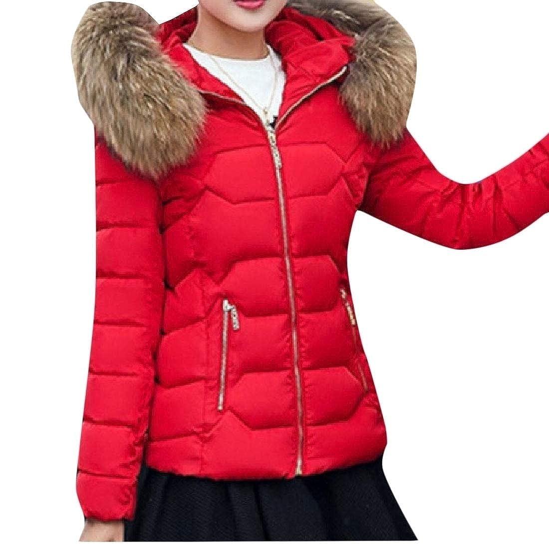 YUNY Womens Faux-Fur Trim Outwear Hooded Warm Cotton Wadded Jacket Six 2XL