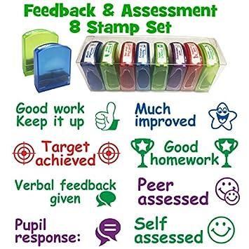 Sellos escolares: comentarios y evaluación 8 bandejas sellos autoentintados – Inc. Verbal Feedback,