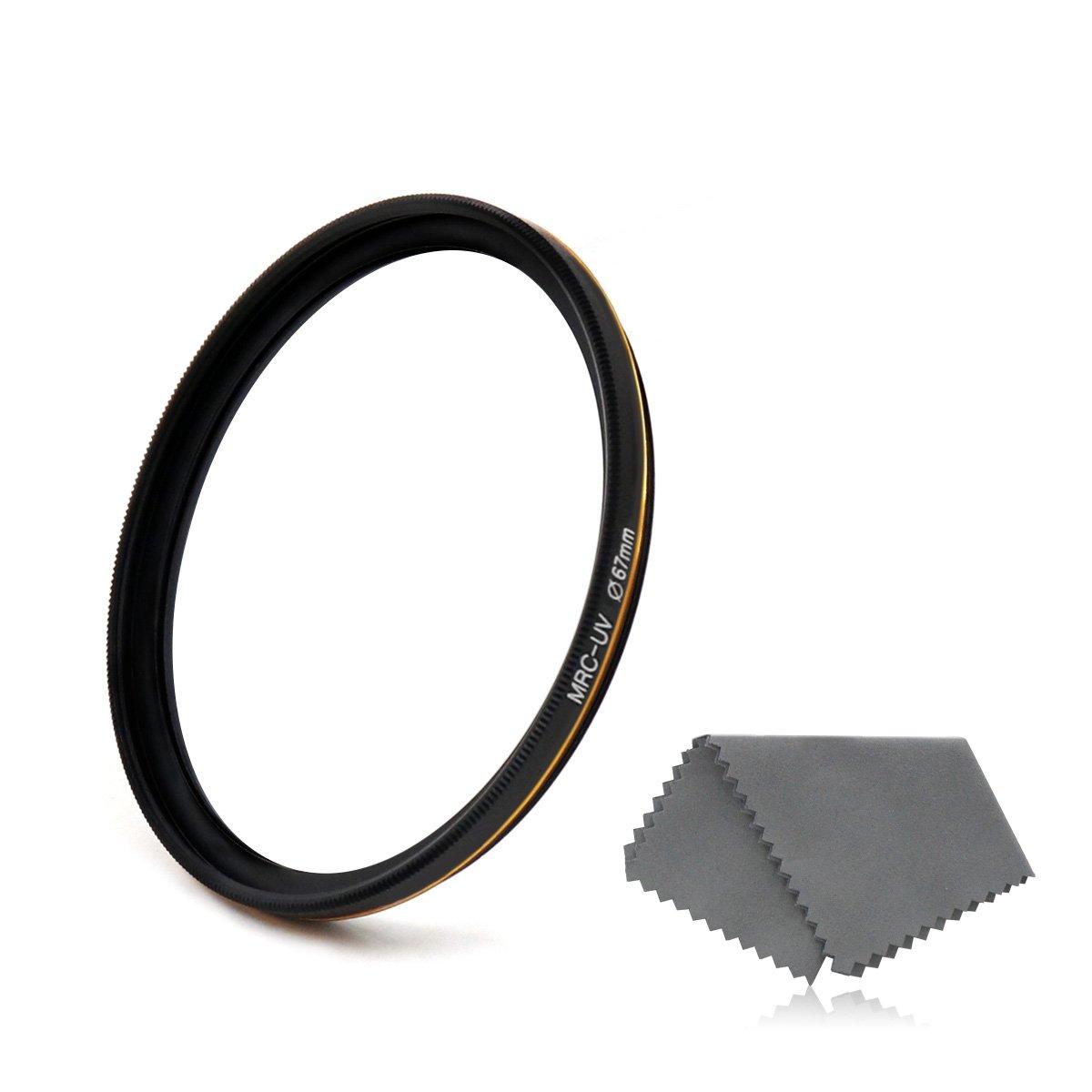 Lenskins 67mm MRC UV Protective Filter, German Optics, Weather-Sealed, 16-Layer Multi-Resistant Nano Coated HD Clear Glass Ultra Violet Filter, Ultra Slim Camera Lens Protector with Lens Cloth by LENSKINS