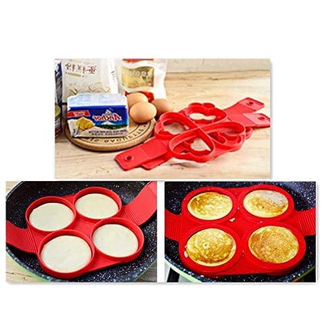 VALUEU Cuatro Hoyos Pastel de Silicona Torta de Molde fritos Molde de Huevo panqueques