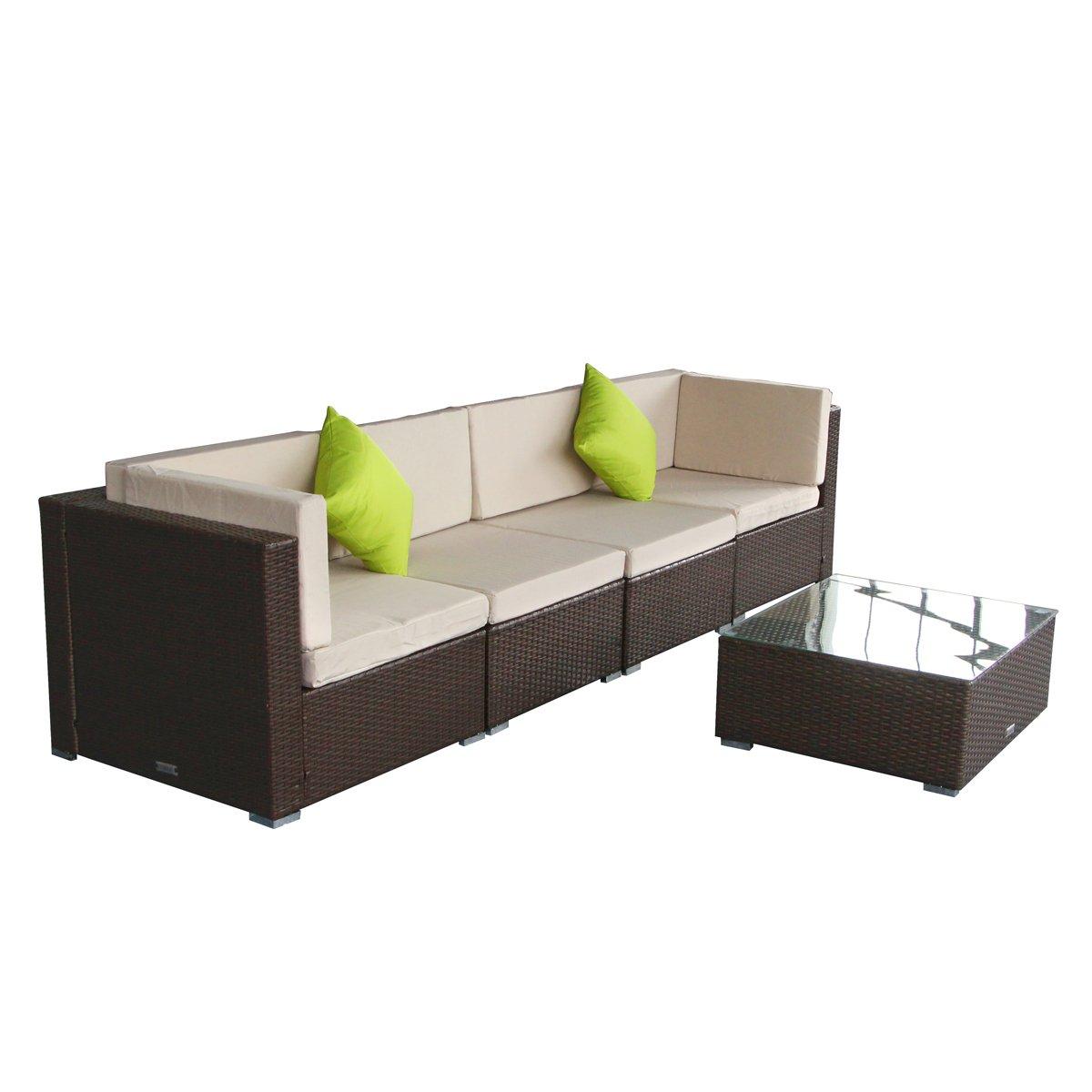 AECOJOY Wicker Furniture Set 5 B pcs Patio PE Rattan Sectional Sofa Brown
