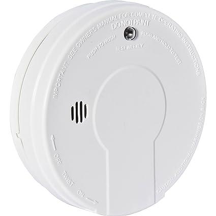 Batería avanzado de monóxido de carbono detector de humos tipografía en zonas cállate y botón de