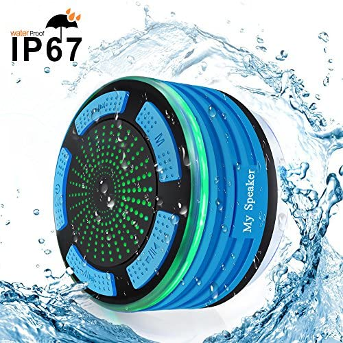 Bluetooth Portable Waterproof Shower Radio BESUNTEK Waterproof Bluetooth Speakers with FM Radio and LED Mood Lights for iPhone iPod iPad Phones Tablets