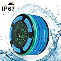 Waterproof Bluetooth Speaker BESUNTEK Shower Radio with FM Radio and LED Mood lights for iPhone iPod iPad Phones Tablets