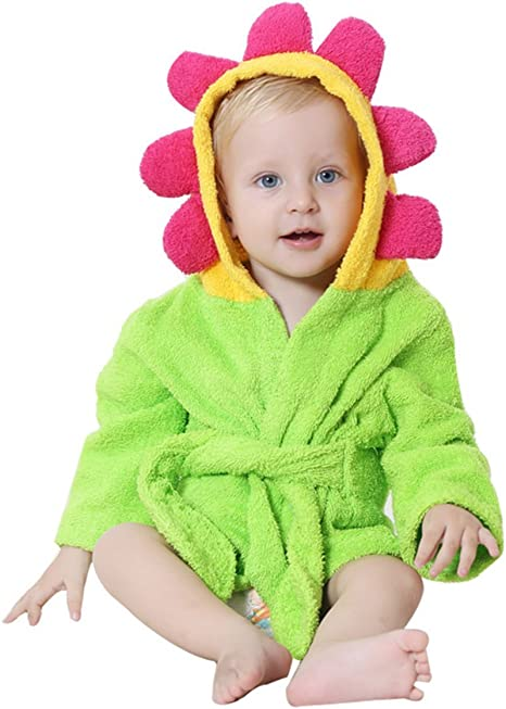 Toalla bebé con capucha de Lexikind | Mullido albornoz de rizo | Poncho- toalla con capucha | Toalla infantil con divertida capucha (flor): Amazon.es: Bebé