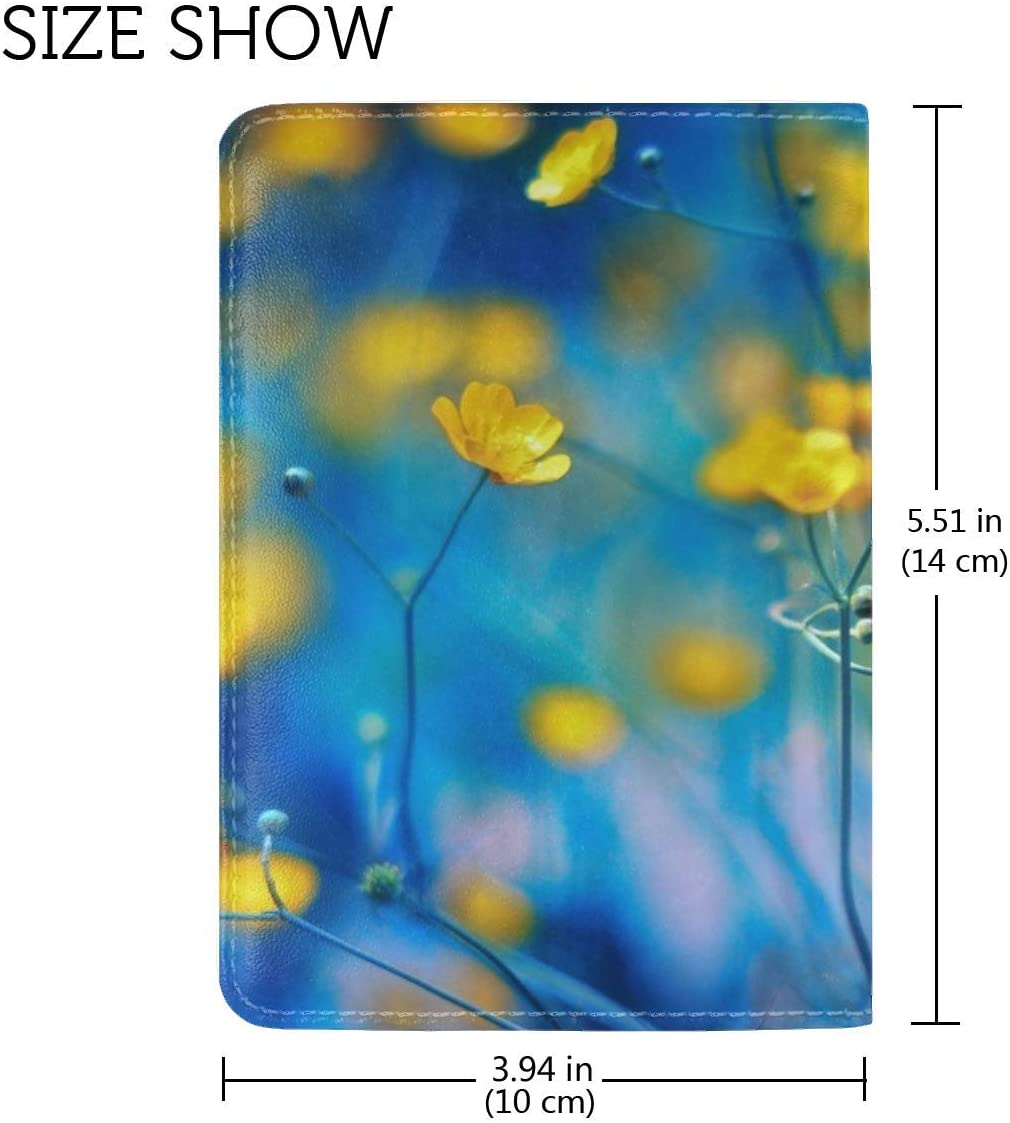 JiaoL Color Background Plant Stems Leather Passport Holder Cover Case Travel One Pocket