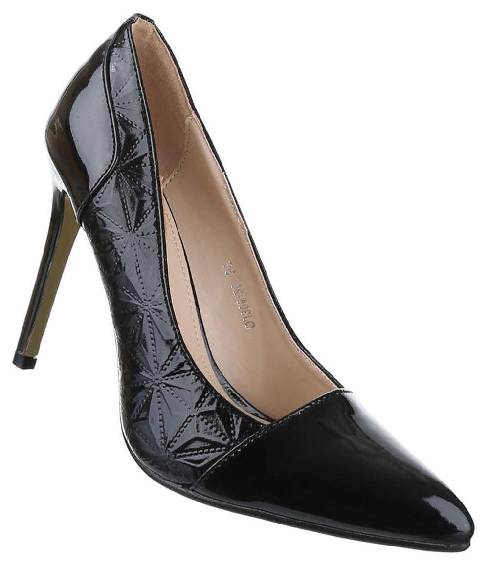 Frauen High Heels mit 11 cm Stiletto-Absatz in Schwarz und Größe 40 Klassische Abendschuhe in Synthetik & Lacklederoptik DRdjYyq5i