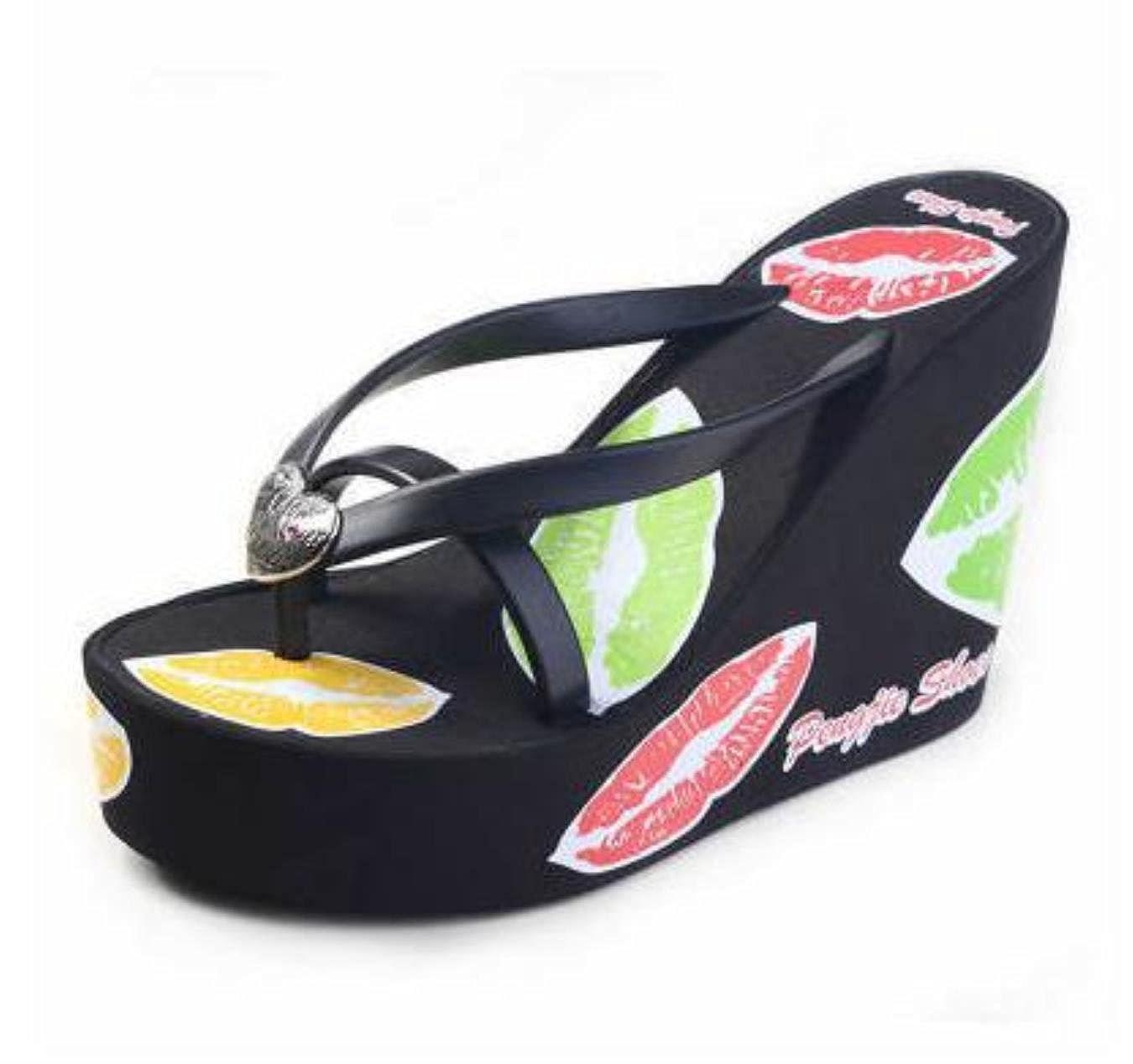 479a7899d8fad Amazon.com  Wedges Platform Women Comfortable Print High Heels Foam  Slippers Female Summer Flip Flops Beach Sandals  Clothing