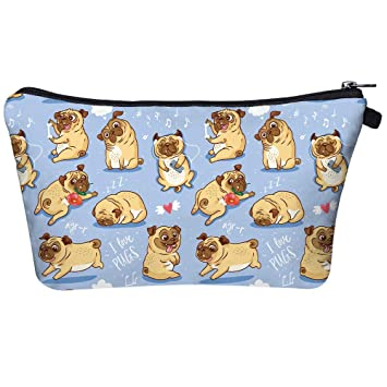 I Love Pug And Flowers Cosmetic Bag Makeup Bags,Small Makeup Pouch Travel Toiletry Organizer With Zipper For Women Girls