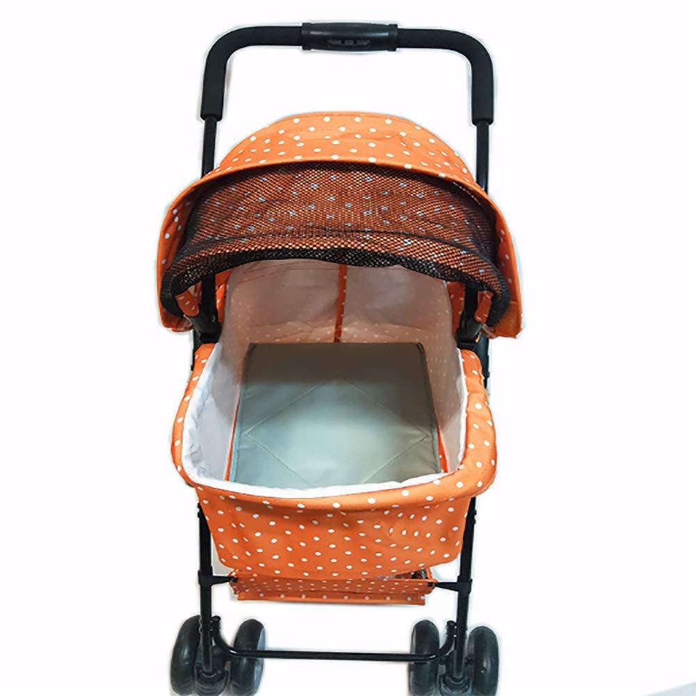 orange Dog Cat Stroller, Portable Foldable Pet Carrier Carriage Outdoors walk shopping travel 64x36x48 cm Loading 25kg,orange