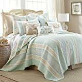 Stone Harbor King Set, White with Teal & Taupe, Cotton