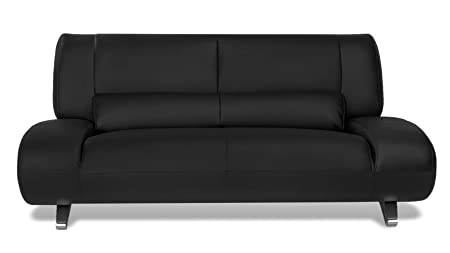 Zuri Furniture Modern Aspen Black Microfiber Leather Loveseat