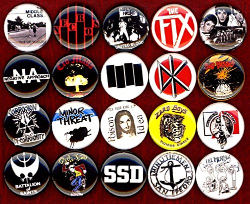 American Hardcore button set of 20 NEW 1 inch pin badge minor threat/bad brain/fix/poison idea 1'' by Panic Buttons (Image #2)