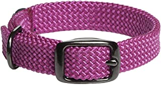 product image for Mendota Pet Double Braid Collar - Black Metallic - Dog Collar - Made in The USA - Raspberry , 9/16 in x 14 in Junior