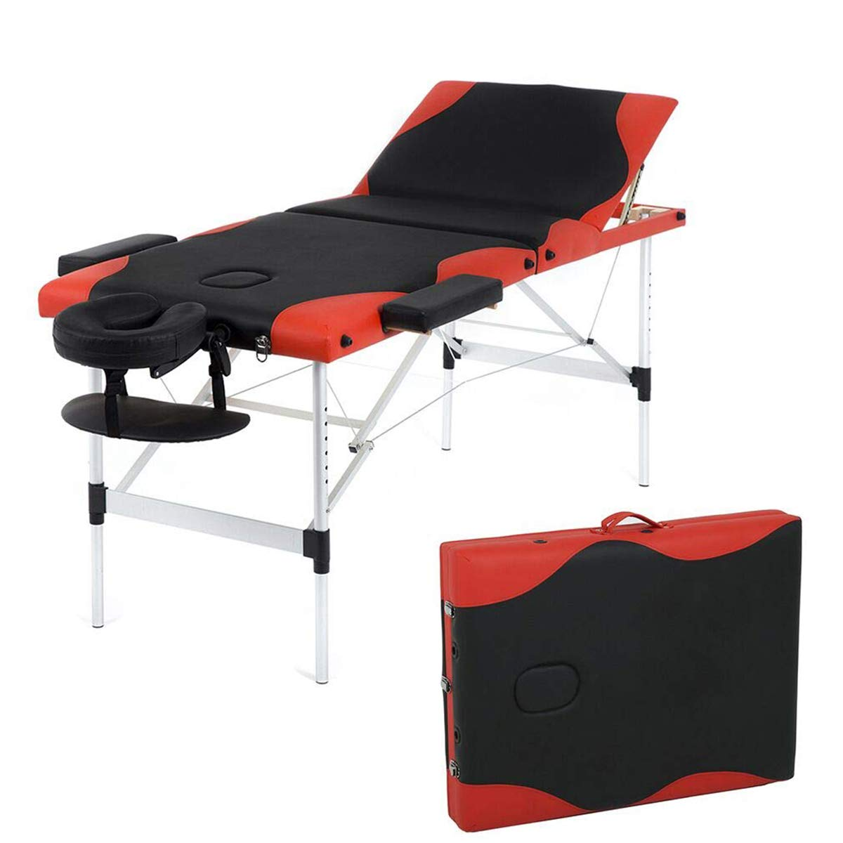 CYQAQ Massage Table Massage Bed Spa Be Height Adjustable 3 Fold Aluminium Portable Facial Salon Tattoo Bed by CYQAQ