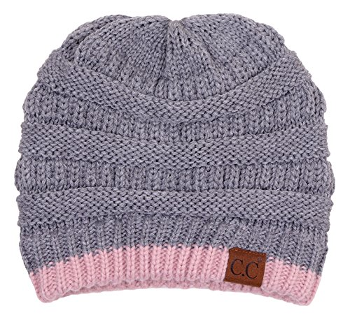 H-6020-572171 Solid Ribbed Beanie - Stripe Light Grey/Rose