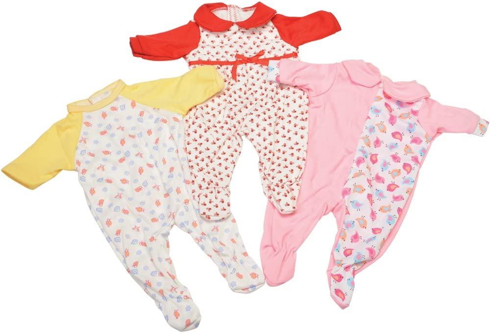 Constructive Playthings Pajama Clothing for 16–18-Inch Dolls, Set of 3