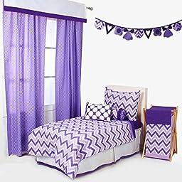 Bacati Mix and Match 4 Piece Toddler Bedding Set, Purple
