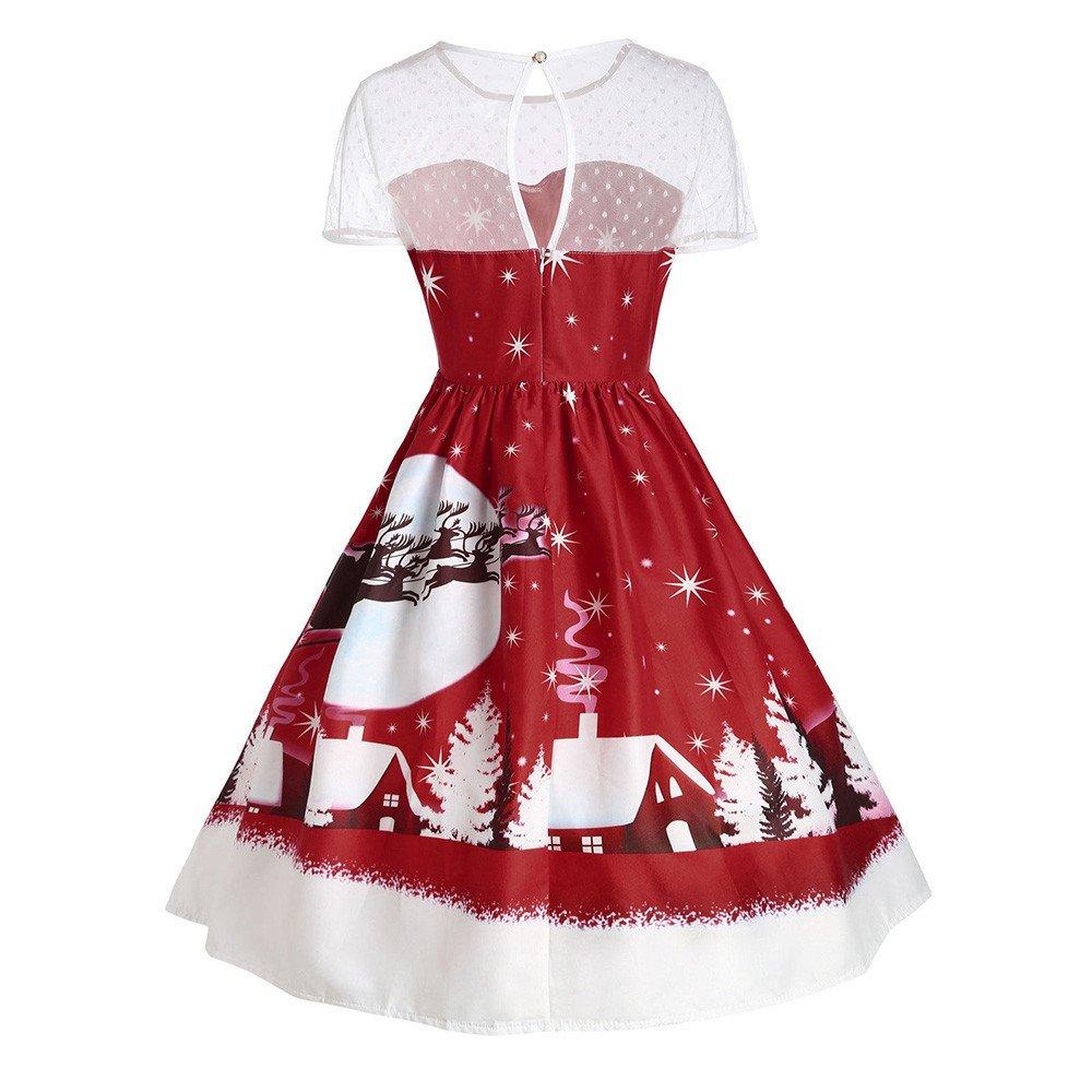 BaojunHT Vintage Lace Short Sleeve Christmas Colume Santa Claus Through Moon Night Print Swing Dress Brake Care
