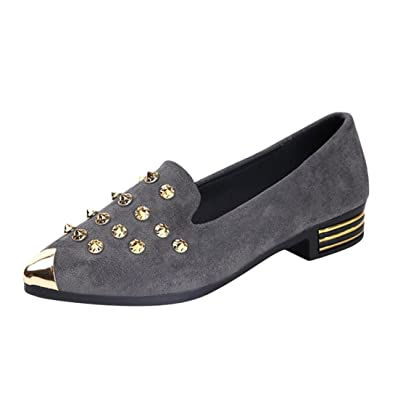 Beautyjourney Tennis Chic Femme, Chaussures Femme Stan Smith Femmes Chaussures Bout Pointu Rivet Casual Chaussures
