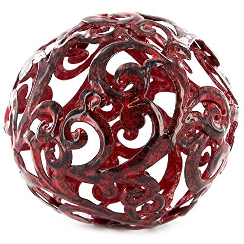 Fancy Red Metal Decorative Tabletop Sphere - ChristmasTablescapeDecor.com