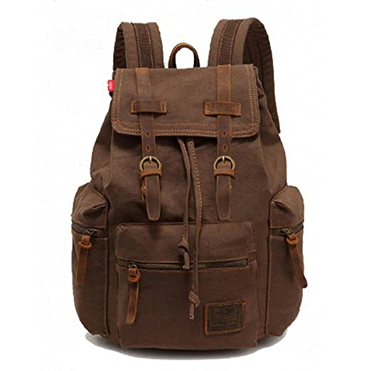 Image Unavailable. Image not available for. Color  YST Unisex Vintage Canvas  Backpack Rucksack Bookbags (Coffee) 0afcba61e7