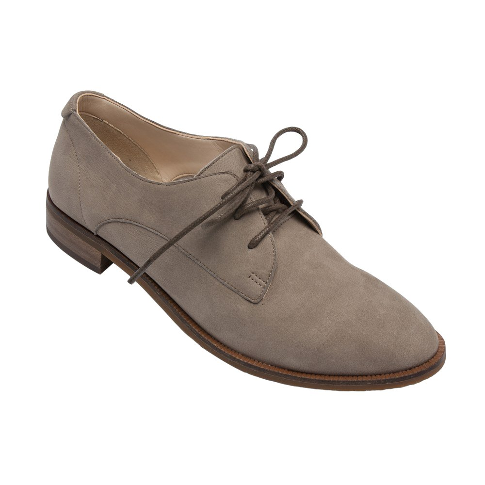 PIC/PAY Jonas - Women's Lace-up Oxford - Classic Flat Leather Menswear Style Loafer Shoes Taupe Oil Burnished Leather 11M