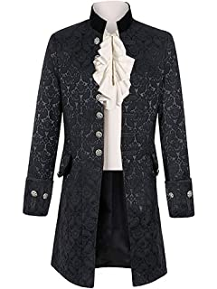 100/% Cotto Mens Gothic Morning Jacket Tailcoat Black Steampunk Victorian Wedding