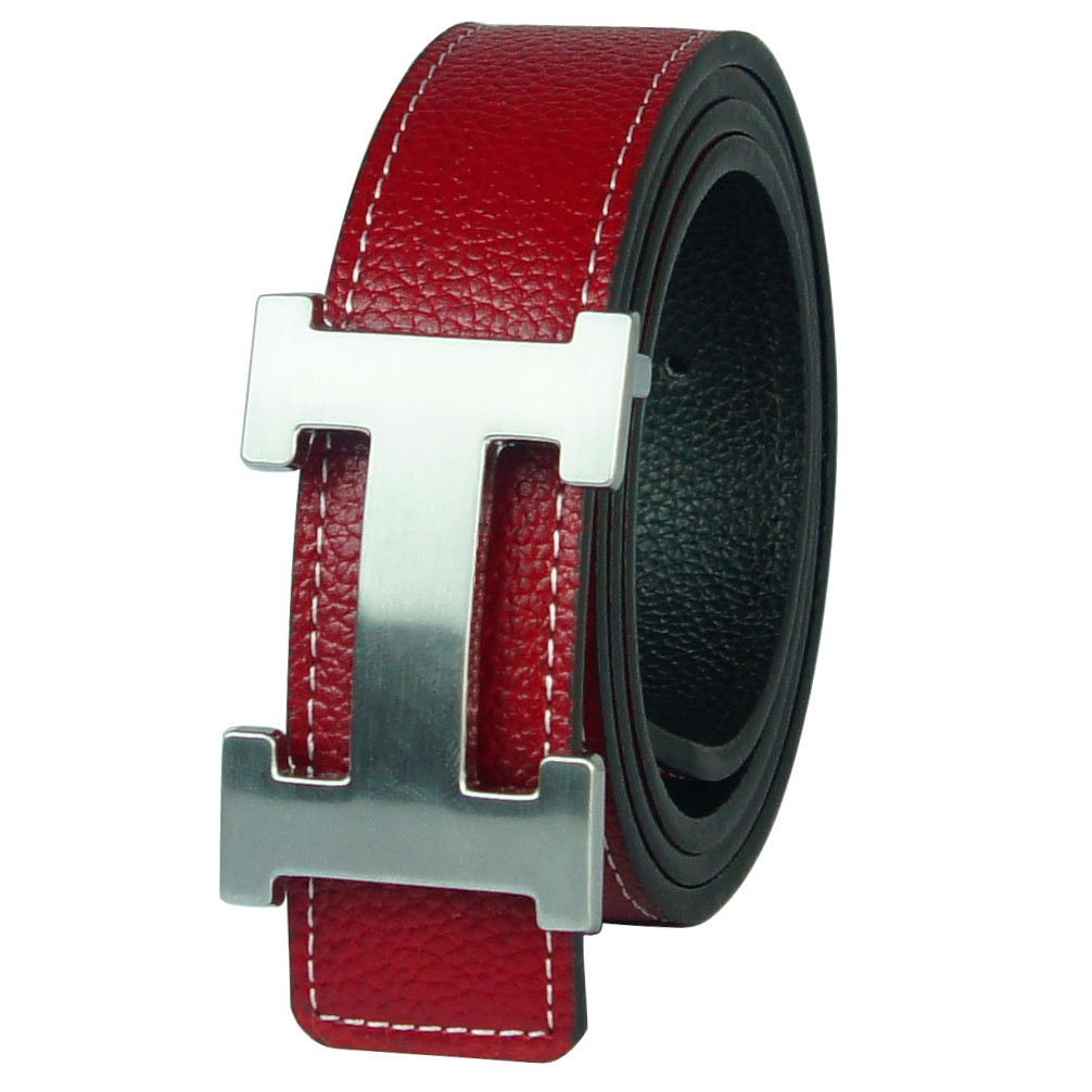 F.YU Women's Belts Genuine Leather belt Business Casual Belt red and silver 32in