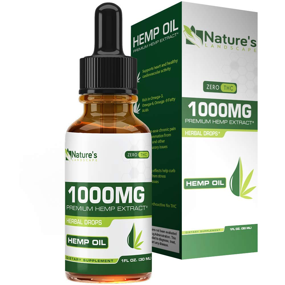 Hemp Oil for Pain Relief 1000mg - Stress Support , Anti Anxiety , Sleep Supplements - Herbal Drops - Rich in MCT Fatty Acids - Natural Anti Inflammatory - 1 Fl Oz . ( 30 ml )