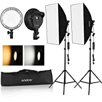 Andoer Studio Photography Softbox LED Light Kit Including 20 * 28 Inches Softboxes 45W Bi-color Temperature 2700K/5500K Dimmable LED Lights 2 Meters Light Stands Carry Bag