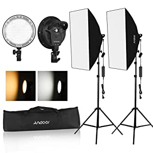 Andoer Softbox lighting Kit, 45W Bi-color Dimmable LED Photography Softbox Light Kit, 20X28 Inch Studio Softbox with 45W Dimmable LED Light Head with 2 Color Temperature and Light Stand for Photo Stud