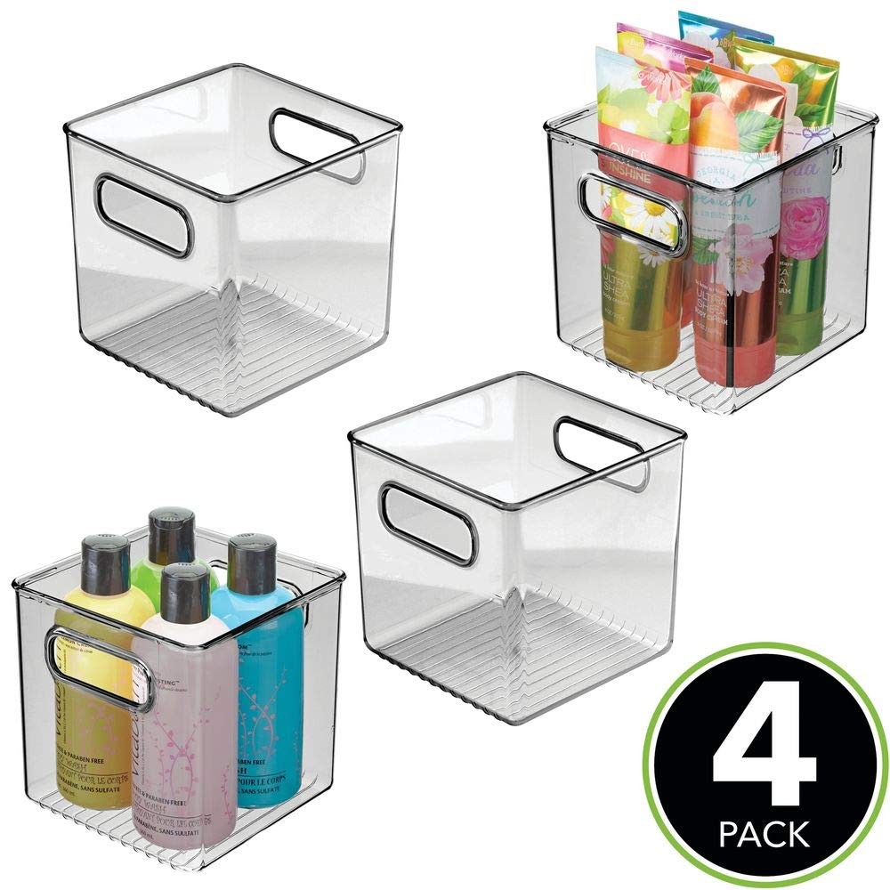 Shelves 4 Pack Cabinets Organization for Bathroom Vanity Countertops mDesign Plastic Storage Organizer Container Cube Bin Holders with Handles Smoke Gray MetroDecor 04629MDBSTEU