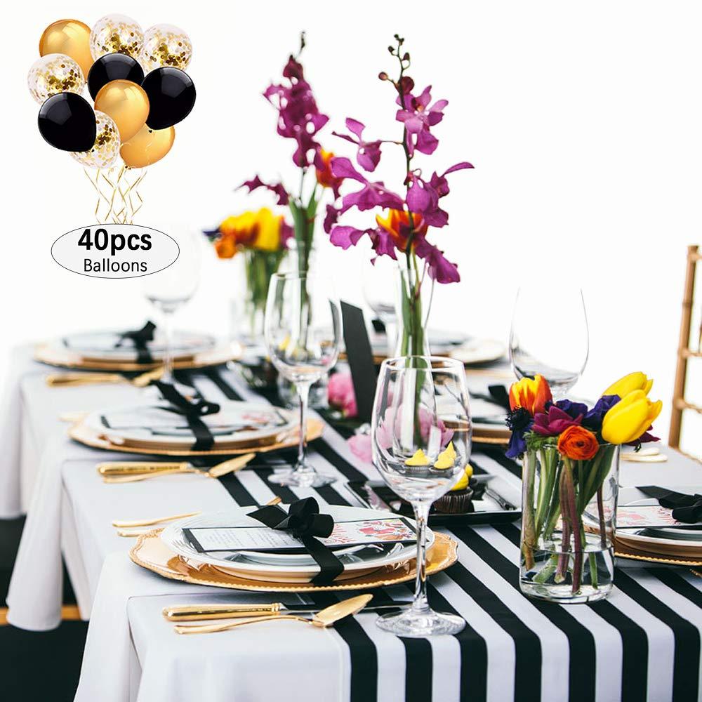 B-COOL クラシカル 丈夫 白黒 ストライプ テーブルランナー 12インチ x 108インチ 9フィート コットン キャンバス ストライプ 生地 ベビーシャワー テーブル トップ デコレーション 5 pieces 12108WHITEBLACK5Pcs 5 pieces White+Black-12\ B07H6F8MGD