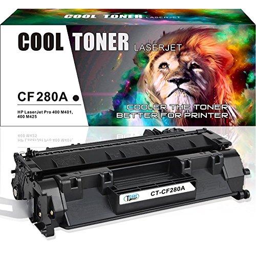 Cool Toner 1 Pack CF280X CF280A Compatibel for HP 80X 80A Toner Cartridge 400 M401n M401dne, MFP M425dn, HP LaserJet Pro 400 M401d M401n M401dn M401dne M401dw MFP M425dn MFP M425dw Printer Toner