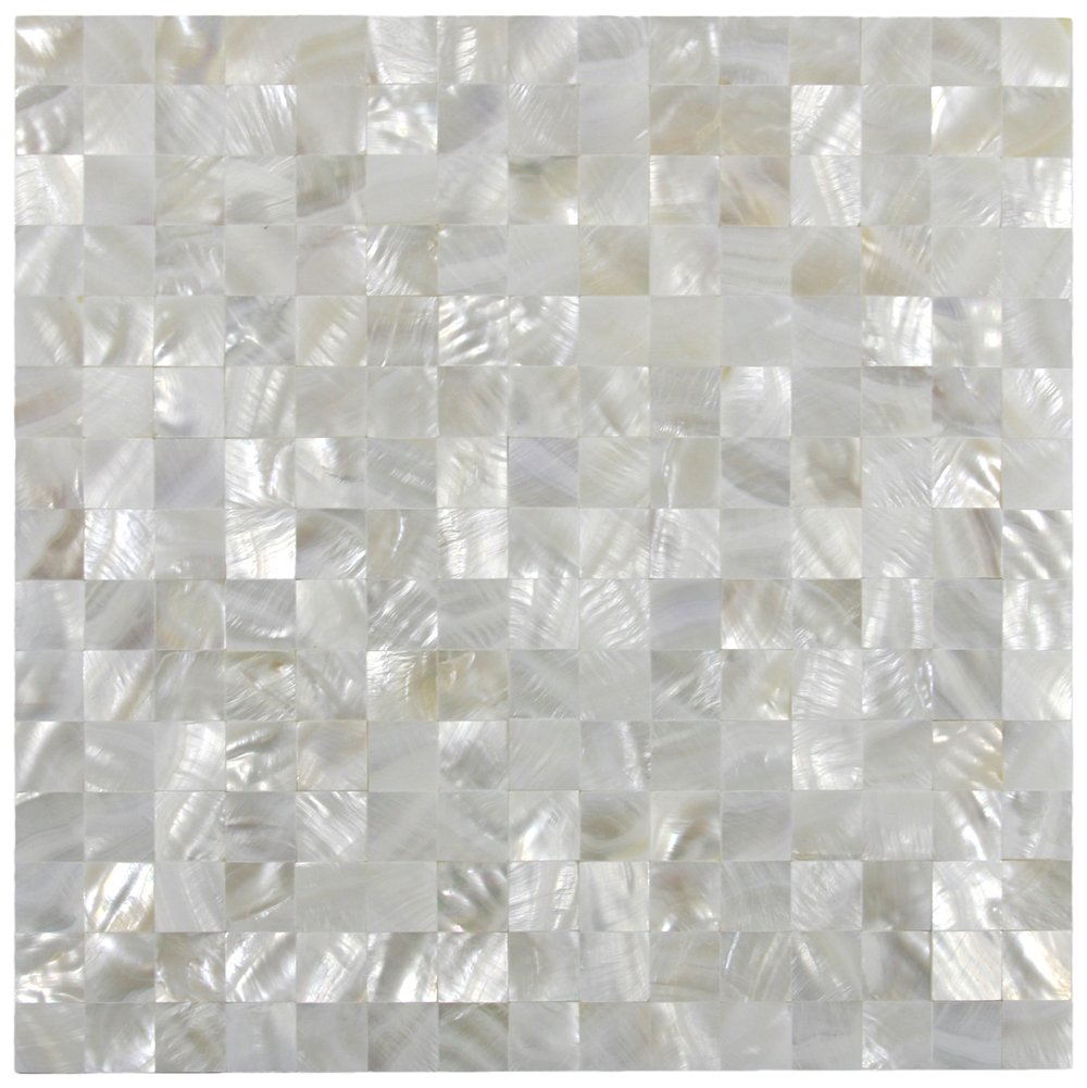 Amazon white square groutless pearl shell tile 1 sqft home amazon white square groutless pearl shell tile 1 sqft home kitchen dailygadgetfo Images