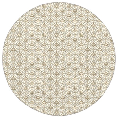 Flower Cocoa Rug (Round Area Rug Mat Rug,Damask,Flower Pattern inside Ornamental Squares Lines Swirls and Other Geometrical Shapes Decorative,Ivory Cocoa,Home Decor Mat with Non Slip Backing)