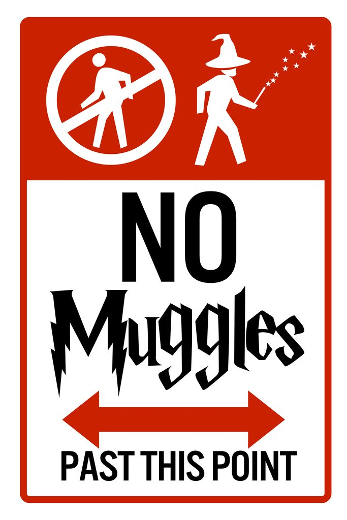 No Muggles Past This Point - NEW Humor Magic Wizard Poster Harry Potter Inspired