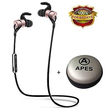 Los Simios Bluetooth, auriculares estéreo inalámbricos Bluetooth auriculares con imán atracción, a prueba de sudor V4.1 Deportes Auriculares con micrófono ...