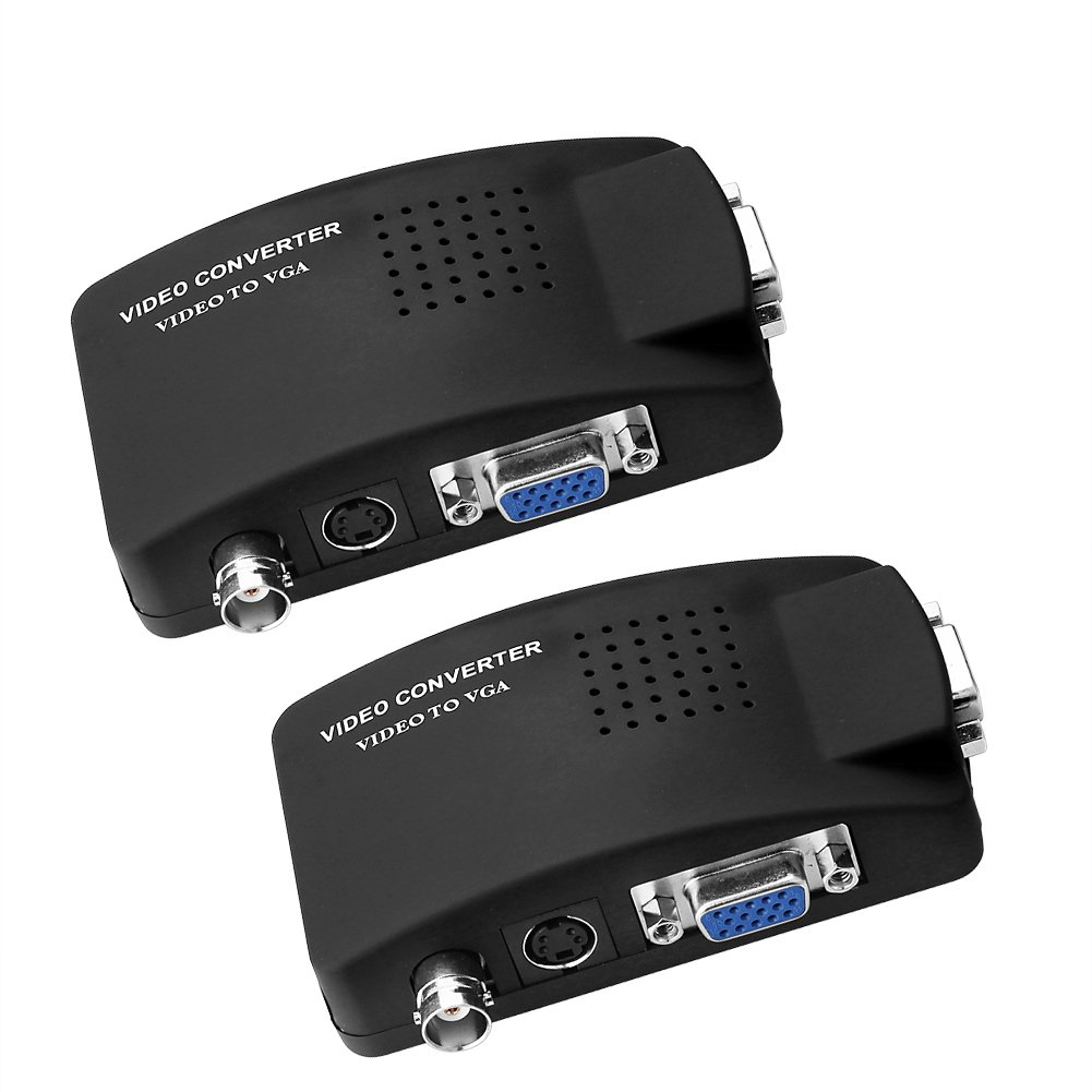 SIENOC 2 Packs S-Video/BNC VGA to VGA Video PC Converter Adapter with BNC + 4 Pin S-video Color Black