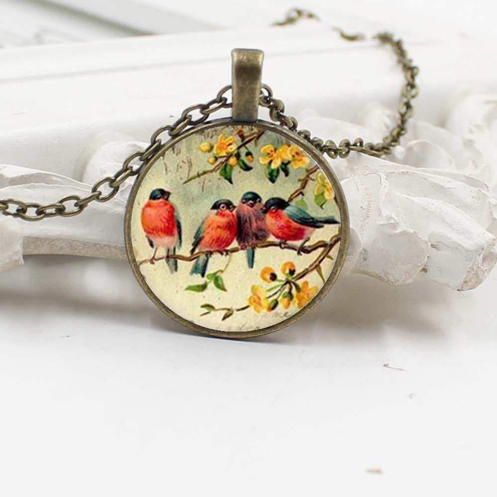 Mens necklace 2019 New Vintage Bird Quartet Art Glass Dome Pendant Necklace Bird Necklace MenS And WomenS Gifts