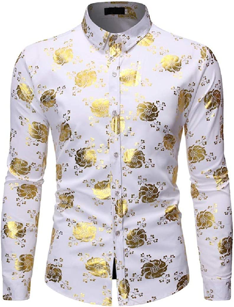 Abetteric Men Single Breasted Metallic Relaxed Fit Hot Stamping Dress Shirt