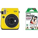 Fujifilm Instax Mini 70 Canary Yellow Fotocamera Istantanea per Stampe, 62x46 mm, Giallo con Mini Film Pellicola Istantanea,Confezione da 10 Foto, 1 Pezzo
