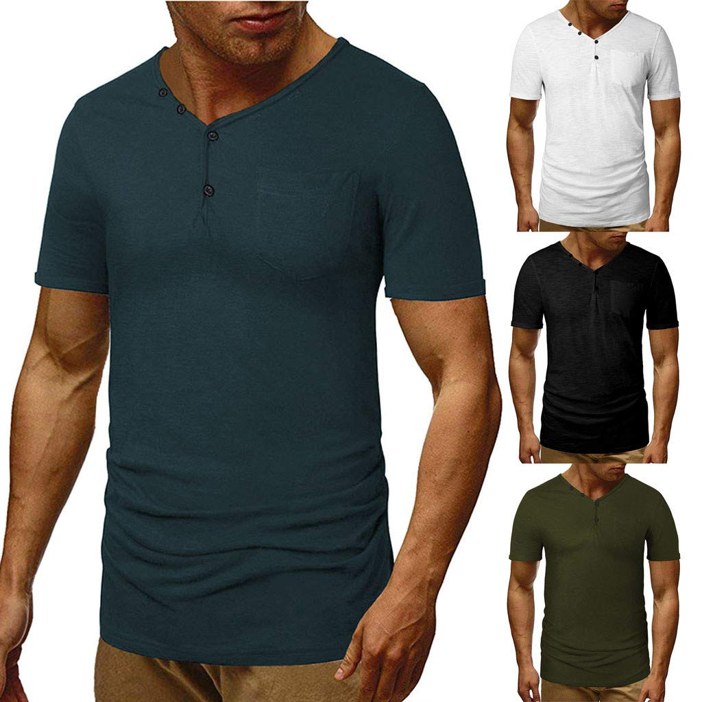 Luckylin Men/'s Summer Fashion Self-Cultivation V-Neck Short-Sleeved T-Shirt Blouse Top